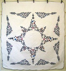 Custom Amish Quilts - Flower Star Applique Blue Red