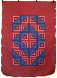 Custom Amish Quilts - Log Cabin Twin Red Blue Patchwork