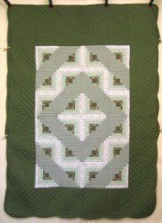 Custom Amish Quilts - Green Log Cabin Twin Patchwork