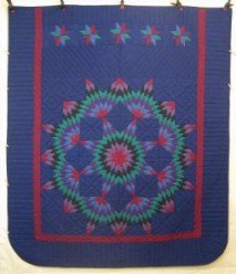 Custom Amish Quilts - Central Broken Star Amish Dutch Colors Patchwork Blue Red