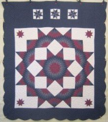Custom Amish Quilts - Broken Radiating Patchwork Star Navy Burgundy