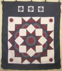Custom Amish Quilts - Broken Star Patchwork Navy Burgundy