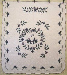 Custom Amish Quilts - Love Birds Applique Green Blue