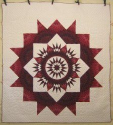 Custom Amish Quilts - Split Mariners Star Patchwork Red Burgundy