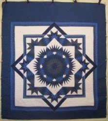 Custom Amish Quilts - Broken Twinkling Mariners Star Blue
