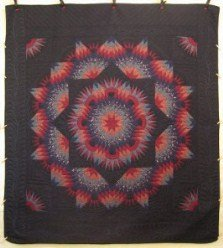 Custom Amish Quilts - Radiating Mariners Compass Star Black Red