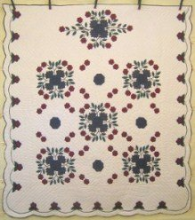 Custom Amish Quilts - Whig Rose Bouquet Applique Red Blue