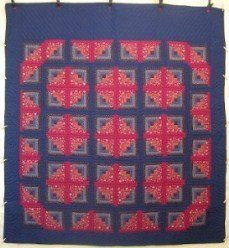 Custom Amish Quilts - Log Cabin Courtyard Patchwork Red Navy