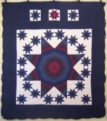 Custom Amish Quilts - Stars Around Lone Star Navy Border