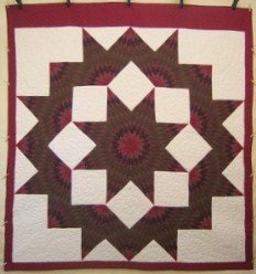 Custom Amish Quilts - Broken Lone Star Olive Brown Burgundy Patchwork