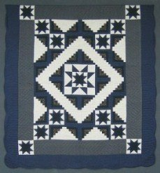 Custom Amish Quilts - Log Cabin Star Navy Grey