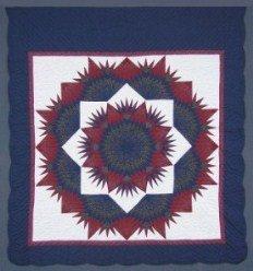 Custom Amish Quilts - Broken Mariners Compass Star Burgundy Navy