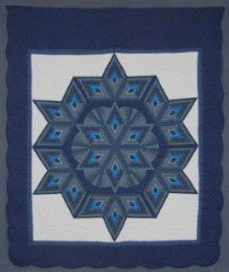Custom Amish Quilts - Completed Fan Star Blue