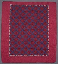 Custom Amish Quilts - Pineapple Patchwork Red Navy