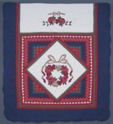 Custom Amish Quilts - Rose Wreath in Common Patchwork Applique Navy Red