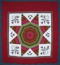 Custom Amish Quilts - Vibrant Lone Star Tulip Burgundy Red
