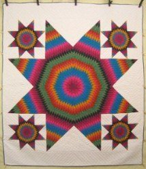 Custom Amish Quilts - Brilliant Southwestern LoneStar Patchwork