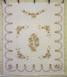 Custom Amish Quilts - Country Rose Grandma Anna Certified Applique Tan