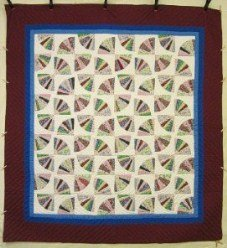 Custom Amish Quilts - Grandmas Fan Burgundy Patchwork
