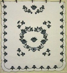 Custom Amish Quilts - Heart Roses Applique Blue Navy