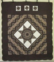 Custom Amish Quilts - LoneStar Log Cabin Brown Chocolate Patchwork