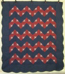 Custom Amish Quilts - Rippling Log Cabin Red Navy Patchwork