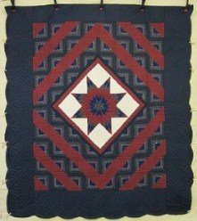 Custom Amish Quilts - Star in Log Cabin Navy Burgundy