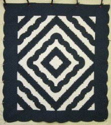 Custom Amish Quilts - Fan Log Cabin Blue Navy White Patchwork