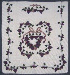 Custom Amish Quilts - Country Grape Wreath Plum Purple Applique
