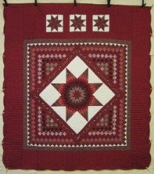Custom Amish Quilts - Lone Star in Commons Red Tan Patchwork