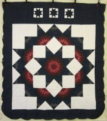 Custom Amish Quilts - Star in Split Star Navy Red Patchwork