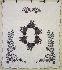 Custom Amish Quilts - Wreath Roses Purple Green Applique