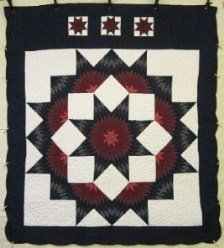 Custom Amish Quilts - Split Star Navy Burgundy Patchwork
