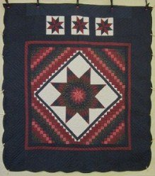 Custom Amish Quilts - Star in Commons Navy Blue Red Patchwork