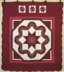 Custom Amish Quilts - Framed Star Starburst Red