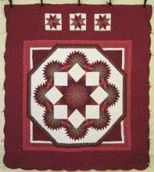 Custom Amish Quilts - Framed Star Starburst Red