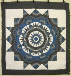 Custom Amish Quilts - Mariners Compass Star King Grey Blue Patchwork