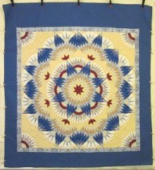 Custom Amish Quilts - Mariners Compass Star Burst Yellow Blue Red Patchwork