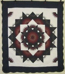 Custom Amish Quilts - Central Star Burst Navy Merlot Patchwork