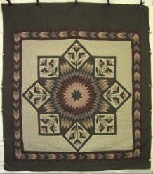 Custom Amish Quilts - Earth Lily Lonestar Border Tan Brown Green Olive