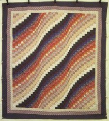 Custom Amish Quilts - Bargello Ocean Wave Brown Tan Patchwork