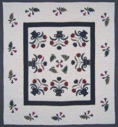 Custom Amish Quilts - Flower Basket Applique Navy Burgundy