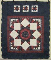 Custom Amish Quilts - Lone Starburst Patchwork Navy Burgundy