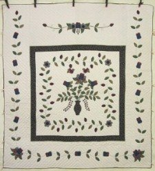 Custom Amish Quilts - Vase Flowers Ivy Purple Green Applique