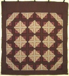 Custom Amish Quilts - Terra Earth Log Cabin Patchwork Brown Tan