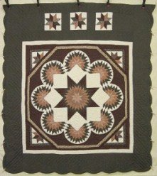 Custom Amish Quilts - Radiating Framed Lone Star Green Brown