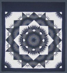 Custom Amish Quilts - Broken Mariners Starburst Star Blue