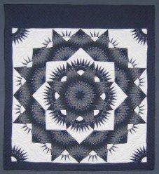 Custom Amish Quilts - Broken Mariners Starburst Star Blue