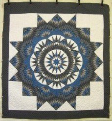 Custom Amish Quilts - King Mariners Compass Star Blue Grey