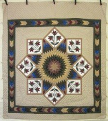 Custom Amish Quilts - Framed Improved Lone Star Tan Gold Patchwork